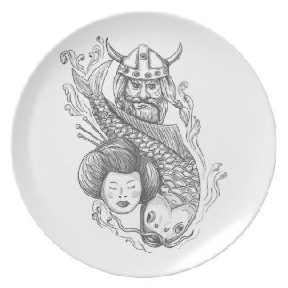 Viking Carp Geisha Head Tattoo Plate