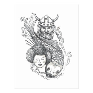 Viking Carp Geisha Head Tattoo Postcard