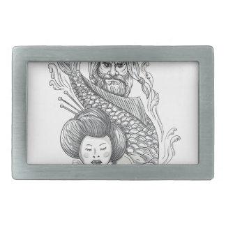Viking Carp Geisha Head Tattoo Rectangular Belt Buckles