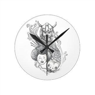 Viking Carp Geisha Head Tattoo Round Clock