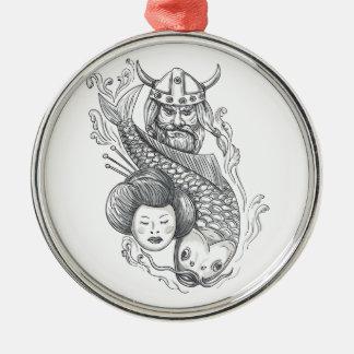 Viking Carp Geisha Head Tattoo Silver-Colored Round Ornament