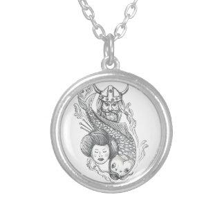Viking Carp Geisha Head Tattoo Silver Plated Necklace