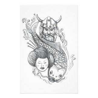 Viking Carp Geisha Head Tattoo Stationery