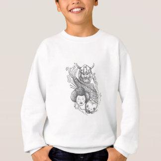 Viking Carp Geisha Head Tattoo Sweatshirt