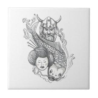 Viking Carp Geisha Head Tattoo Tile