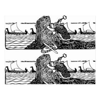 Viking Carving Runes Postcard