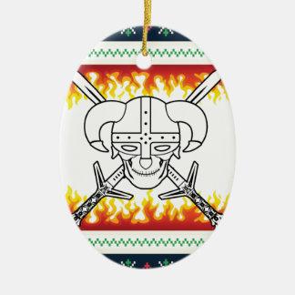 viking christmas ceramic oval ornament