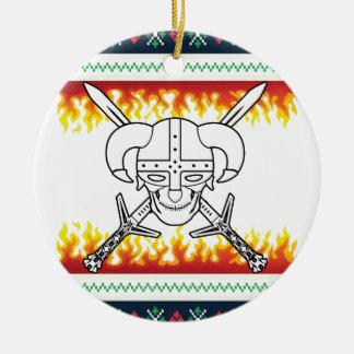 viking christmas round ceramic ornament