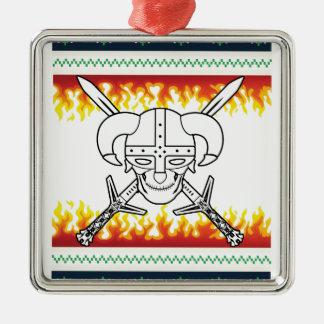 viking christmas Silver-Colored square ornament