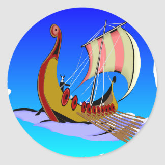 Viking Galley Ship   #002 Classic Round Sticker