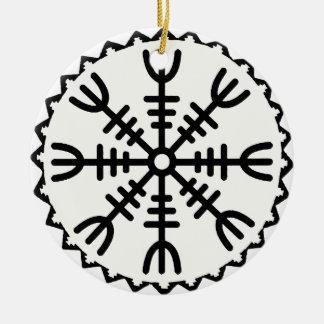 Viking Helm of Awe Round Ceramic Ornament