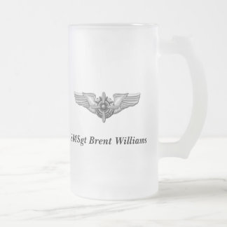 Viking Helmet & Wings-Personalized. Frosted Glass Beer Mug