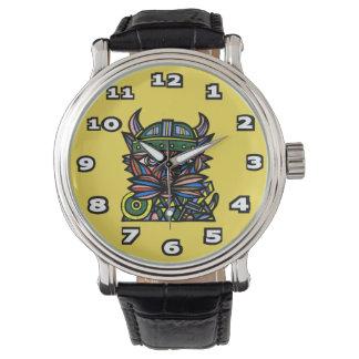 """Viking Kat"" Black Vintage Leather Watch"
