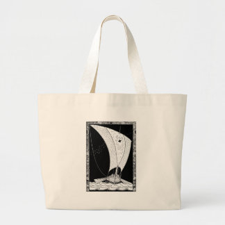 Viking longship sailboat large tote bag