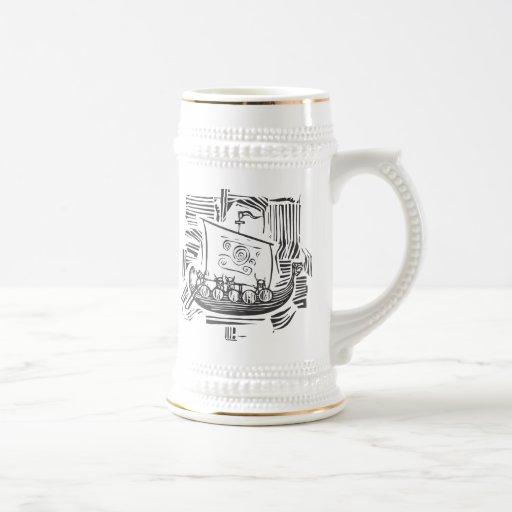 Viking LongShip Woodcut Coffee Mugs