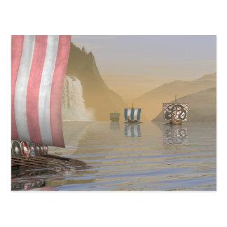 Viking Longships in a Norwegian Fjord Postcard