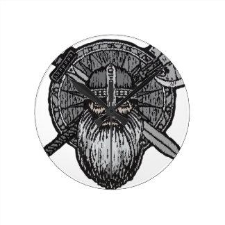 viking man germanic nordic norse runic round clock