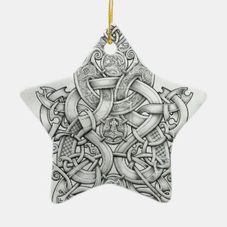 VIKING & OSEBERG KNOTWORK DESIGN CERAMIC STAR ORNAMENT