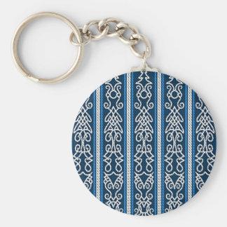 Viking Pattern Blue Basic Round Button Keychain