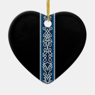 Viking Pattern Blue Ceramic Ornament