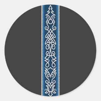 Viking Pattern Blue Classic Round Sticker