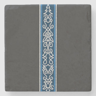 Viking Pattern Blue Stone Coaster