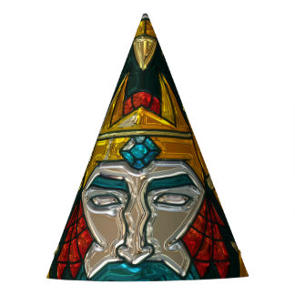 Viking Portrait Metallic Look Party Hat
