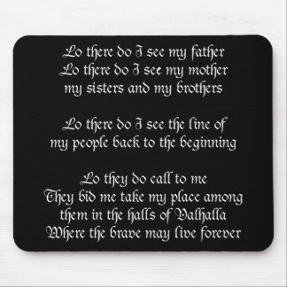 Viking Prayer Black Mouse Pad
