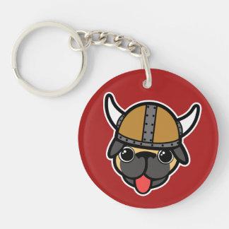 Viking Pug Double-Sided Round Acrylic Keychain