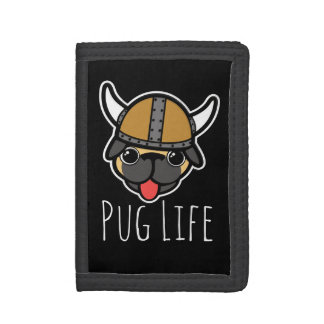 Viking Pug Trifold Wallets