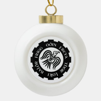 Viking Raven Banner Ceramic Ball Ornament