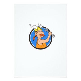 Viking Repairman Spanner Circle Cartoon Card