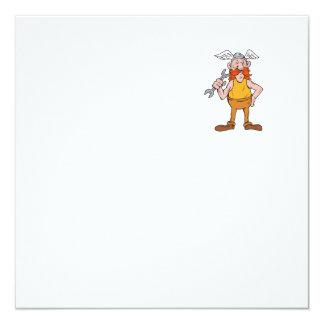 Viking Repairman Standing Spanner Cartoon Card