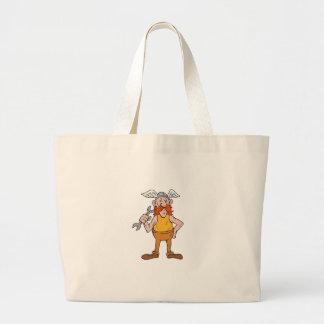 Viking Repairman Standing Spanner Cartoon Large Tote Bag