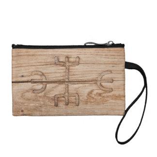 Viking rune on cracked wood change purse