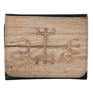 Viking rune on cracked wood leather tri-fold wallet