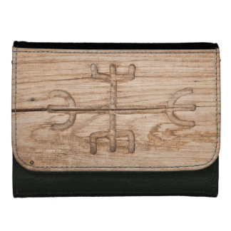 Viking rune on cracked wood wallets for women
