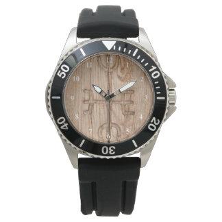 Viking rune on cracked wood watch