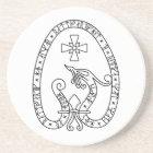 Viking Rune Stone black wild duck white Coaster