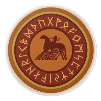 Viking Runes, Odin and Sleipnir Illustration Ceramic Knob