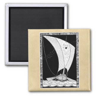 Viking Sailing Ship Square Magnet