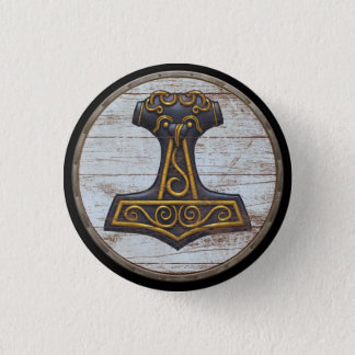 Viking Shield Emblem - Thor's Hammer 1 Inch Round Button