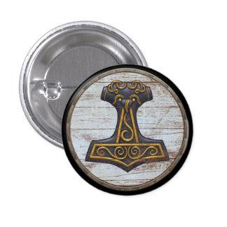 Viking Shield Emblem - Thor's Hammer 1 Inch Round Button