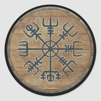 Viking Shield - Vegvísir Classic Round Sticker