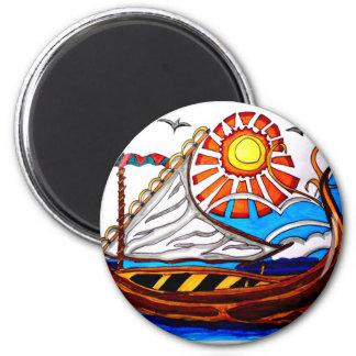 VIKING SHIP 5 2 INCH ROUND MAGNET