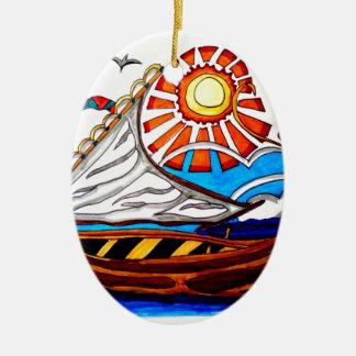 VIKING SHIP 5 CERAMIC OVAL ORNAMENT