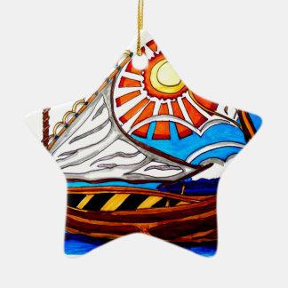 VIKING SHIP 5 CERAMIC STAR ORNAMENT