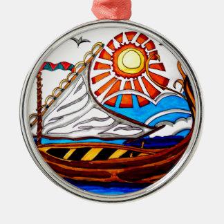 VIKING SHIP 5 Silver-Colored ROUND ORNAMENT
