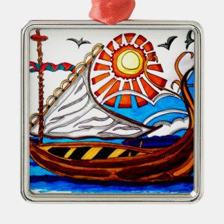VIKING SHIP 5 Silver-Colored SQUARE ORNAMENT