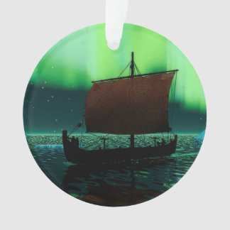 Viking Ship And Northern Lights